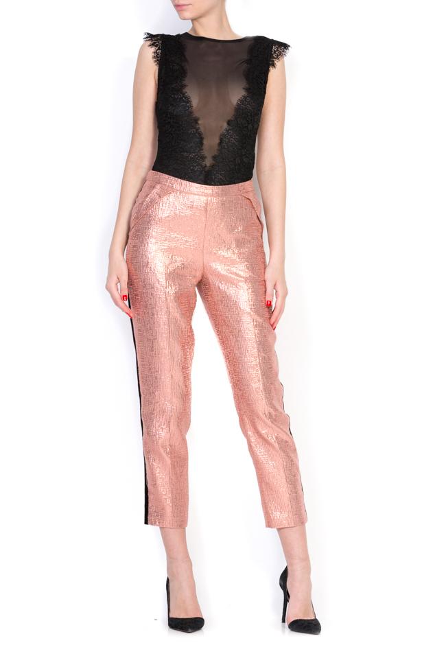 Pantaloni din jacard cu insertii din catifea Luz Simona Semen imagine 0