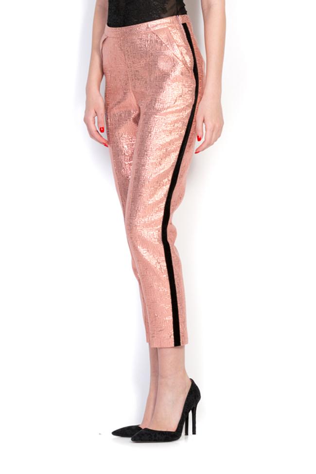 Pantaloni din jacard cu insertii din catifea Luz Simona Semen imagine 1