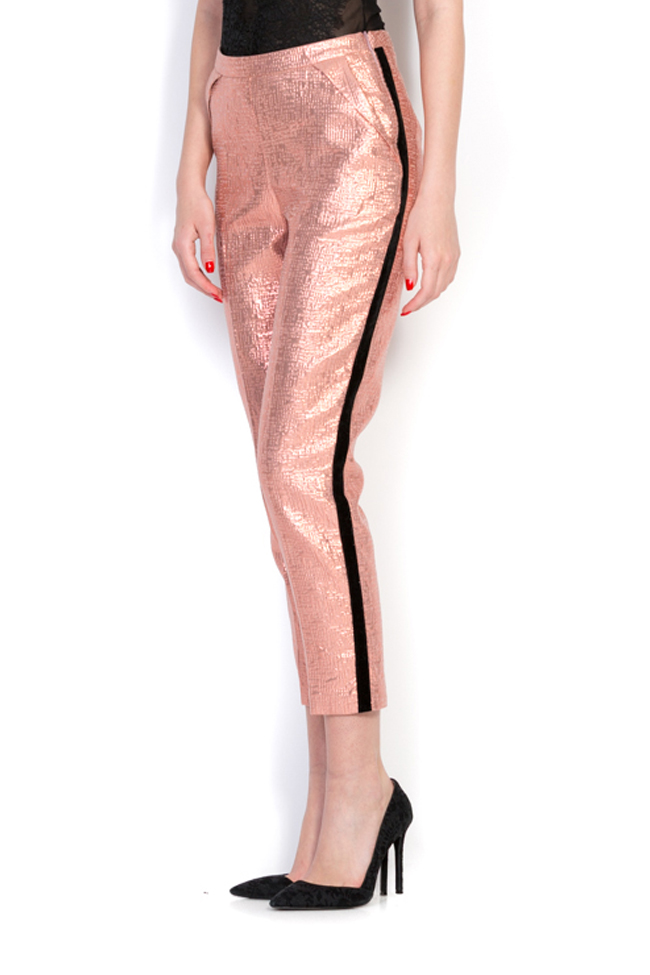 Pantalon en tissu Jacquard avec insertions en velours Luz Simona Semen image 1