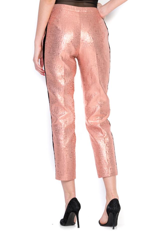 Pantaloni din jacard cu insertii din catifea Luz Simona Semen imagine 2
