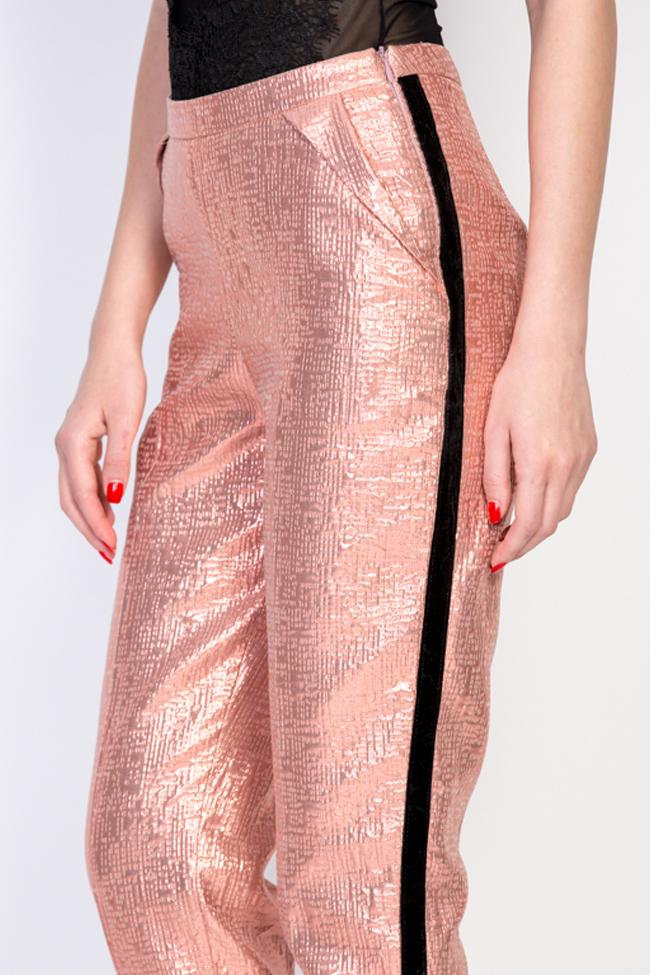 Pantaloni din jacard cu insertii din catifea Luz Simona Semen imagine 3