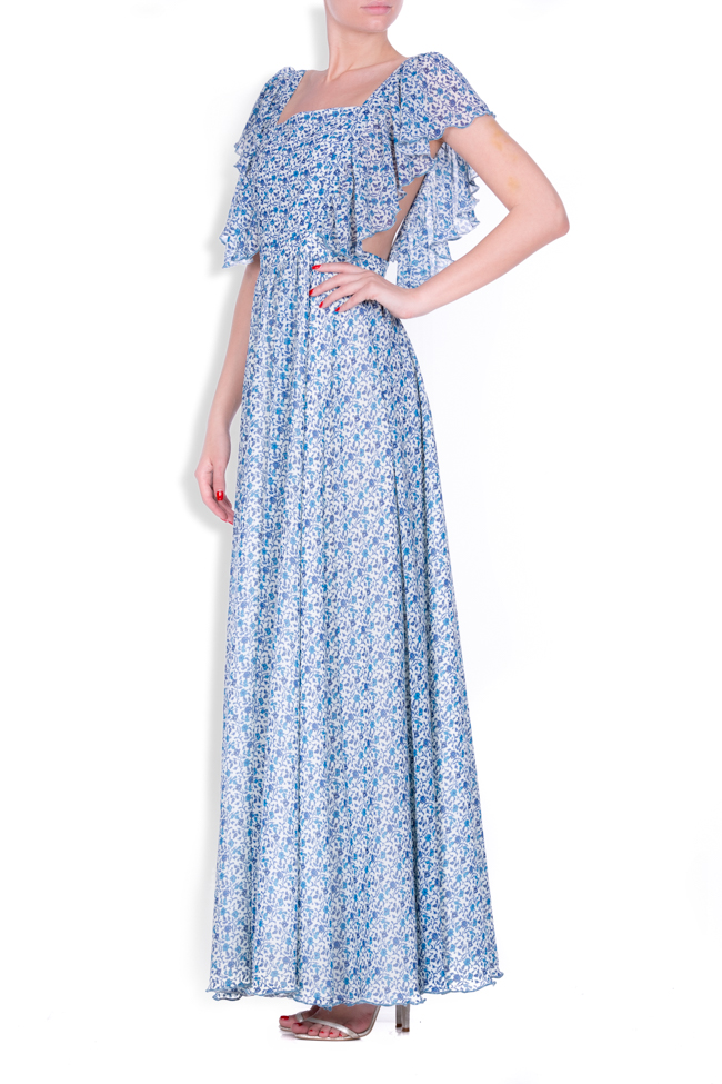 Ruffled silk-blend crepe maxi dress Zenon image 1