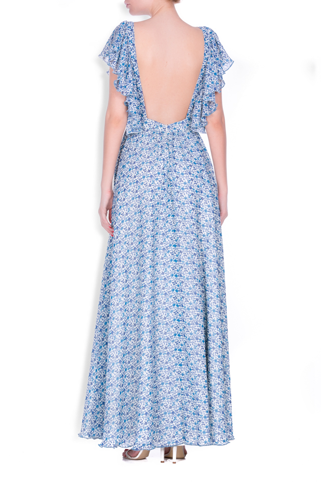 Ruffled silk-blend crepe maxi dress Zenon image 2