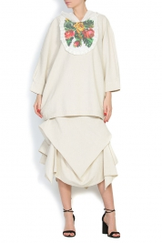 Nicoleta Obis Cotton linen hooded top