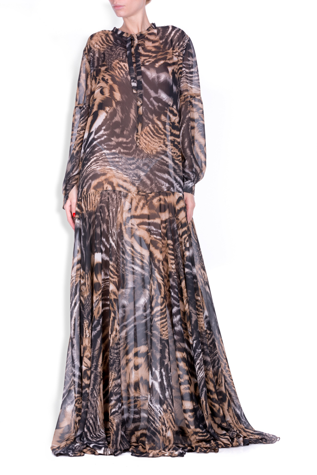 Printed silk-blend chiffon maxi dress Zenon image 0