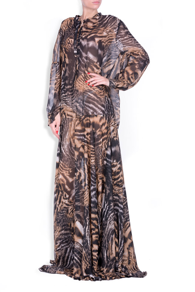Printed silk-blend chiffon maxi dress Zenon image 1