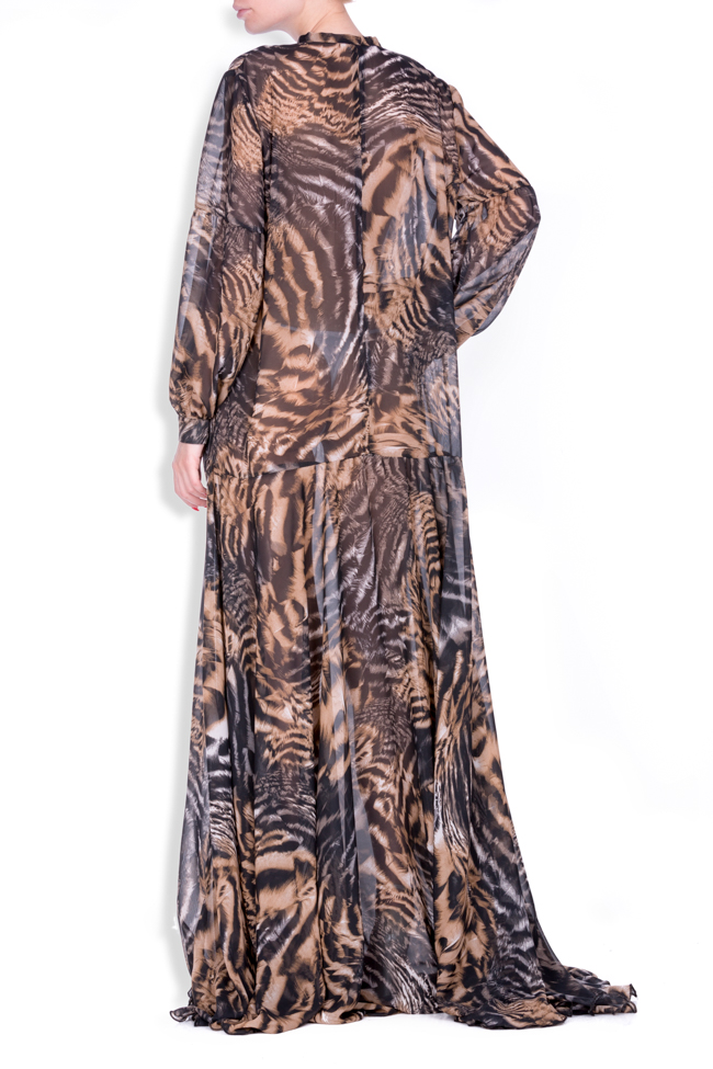 Printed silk-blend chiffon maxi dress Zenon image 2