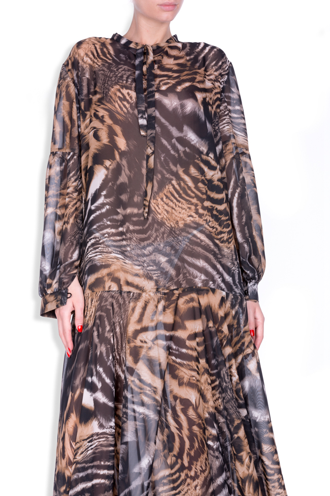 Printed silk-blend chiffon maxi dress Zenon image 3