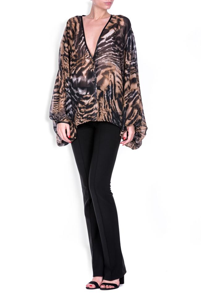 Leopard-print silk-blend crepe top Zenon image 0