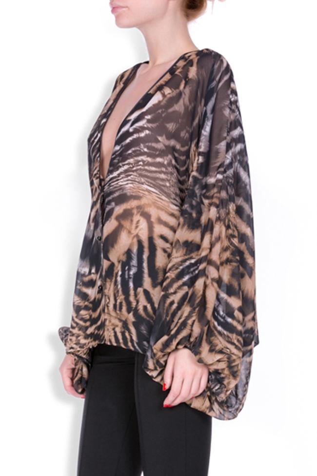 Leopard-print silk-blend crepe top Zenon image 1