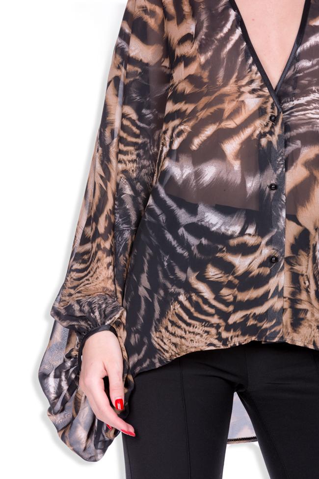 Leopard-print silk-blend crepe top Zenon image 3