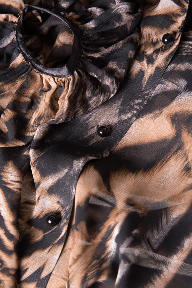 Leopard-print silk-blend crepe top Zenon image 4