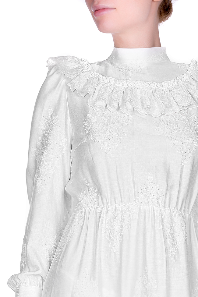 Embroidered ruffled cotton midi dress Zenon image 3