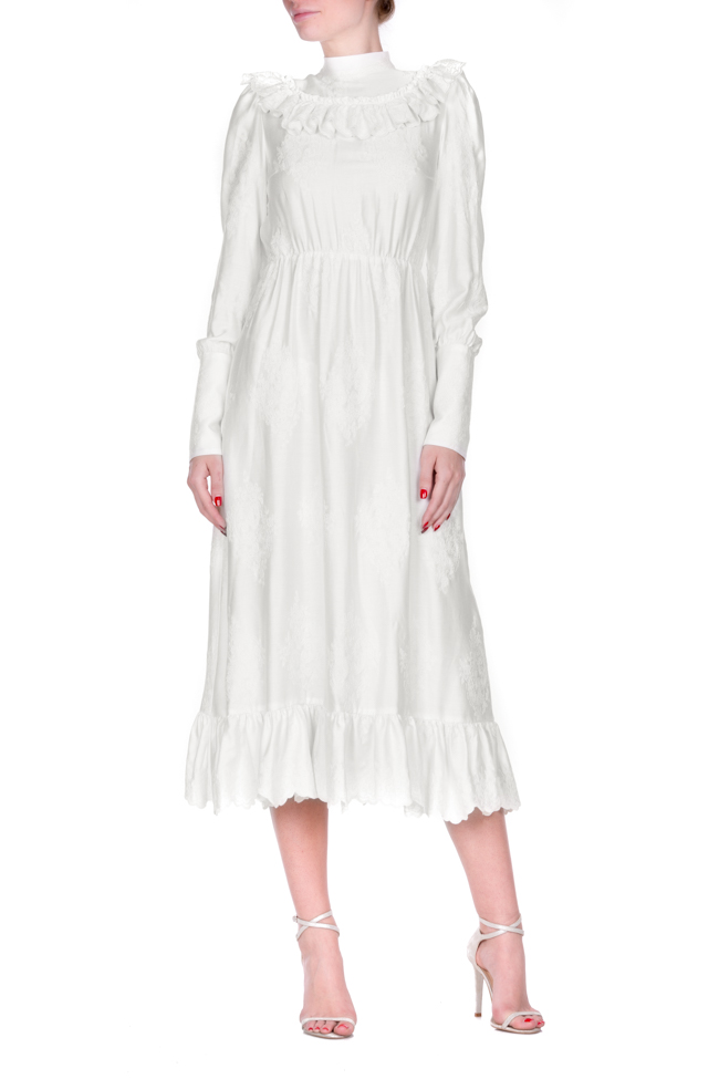 Embroidered ruffled cotton midi dress Zenon image 0