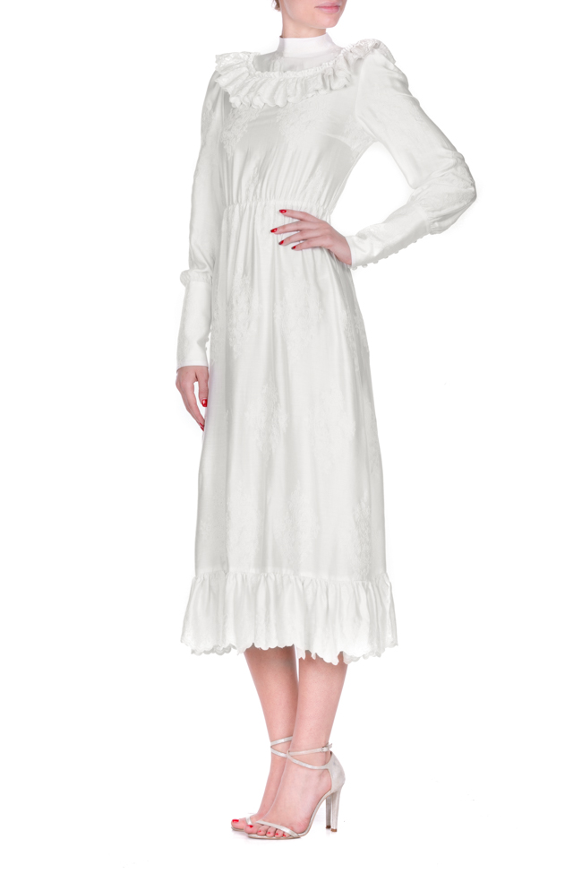 Embroidered ruffled cotton midi dress Zenon image 1