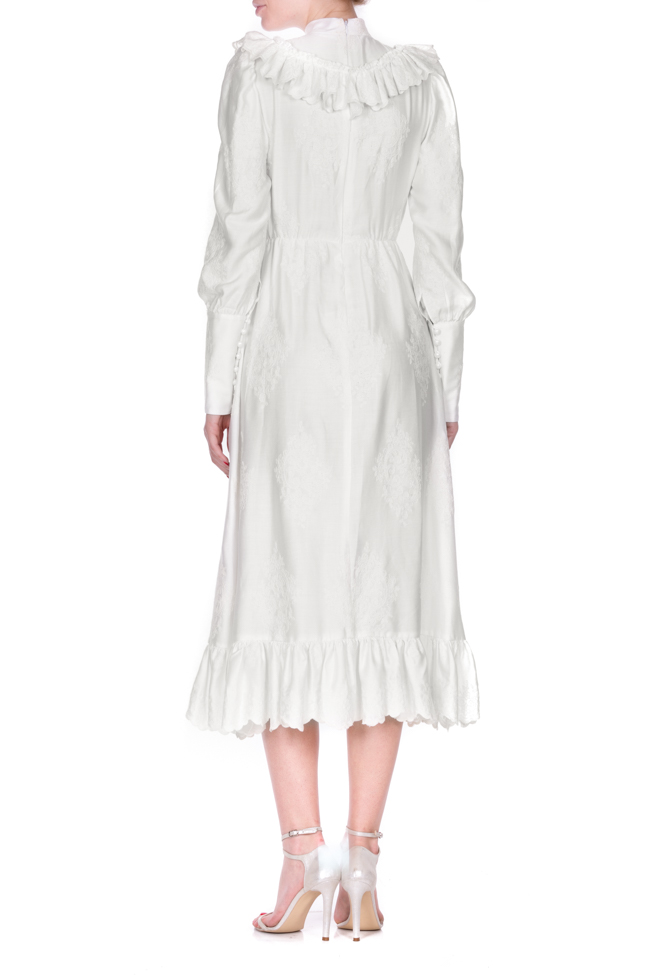Embroidered ruffled cotton midi dress Zenon image 2