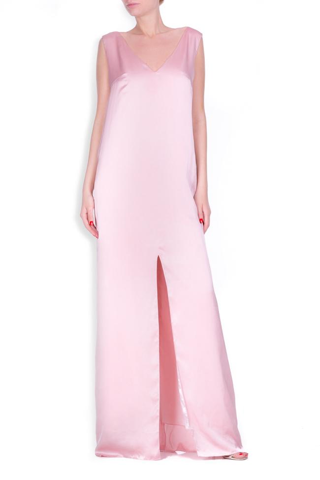 Open-back satin maxi dress Zenon image 0
