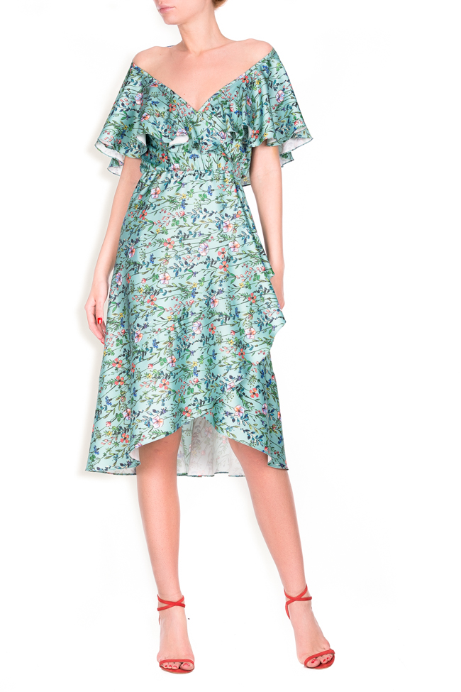 Ruffled floral-print wrap dress Lure image 0