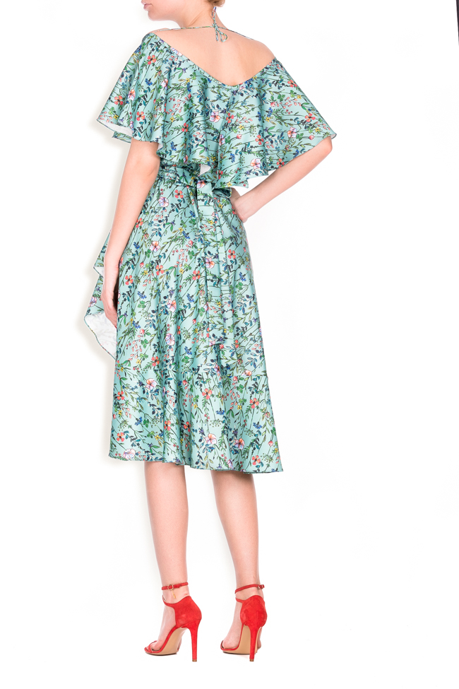 Ruffled floral-print wrap dress Lure image 2