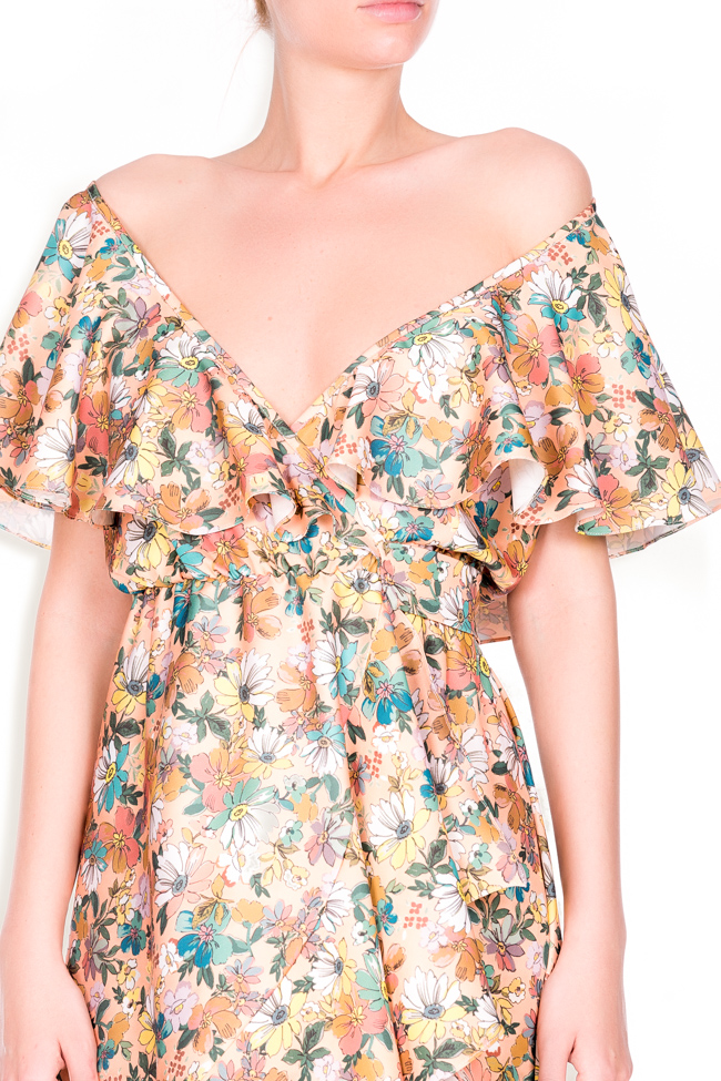 Ruffled floral-print wrap dress Lure image 3