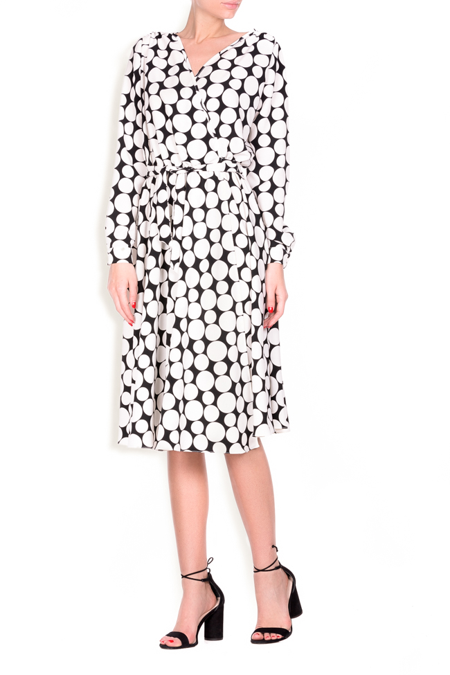 Polka-dot crepe de chine wrap dress Lure image 0
