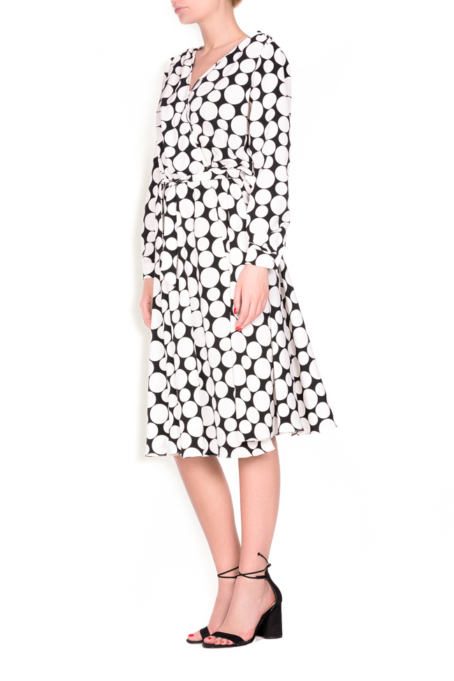 Polka-dot crepe de chine wrap dress Lure image 1