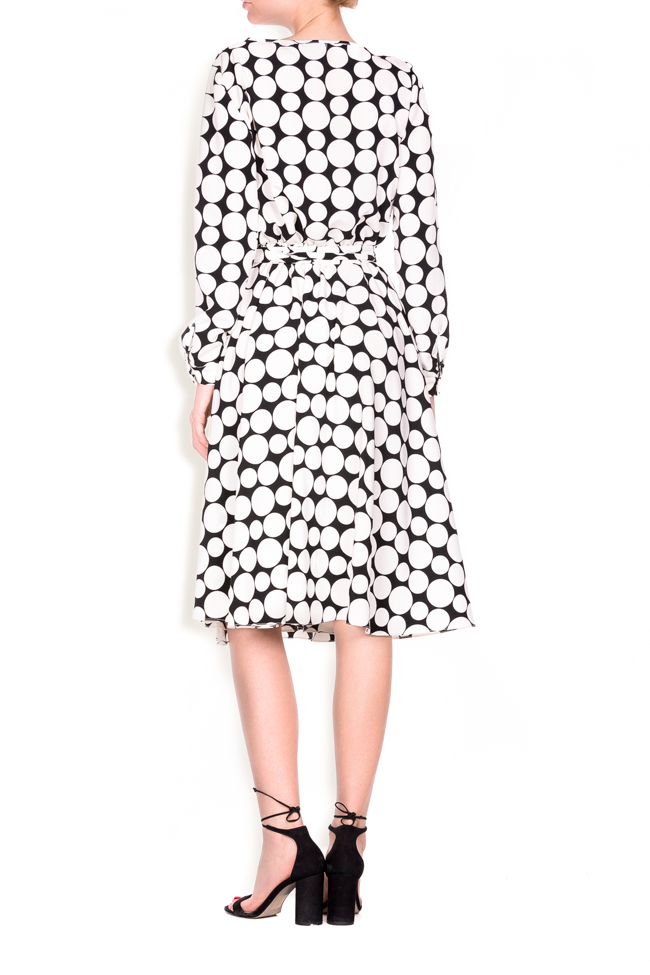 Polka-dot crepe de chine wrap dress Lure image 2
