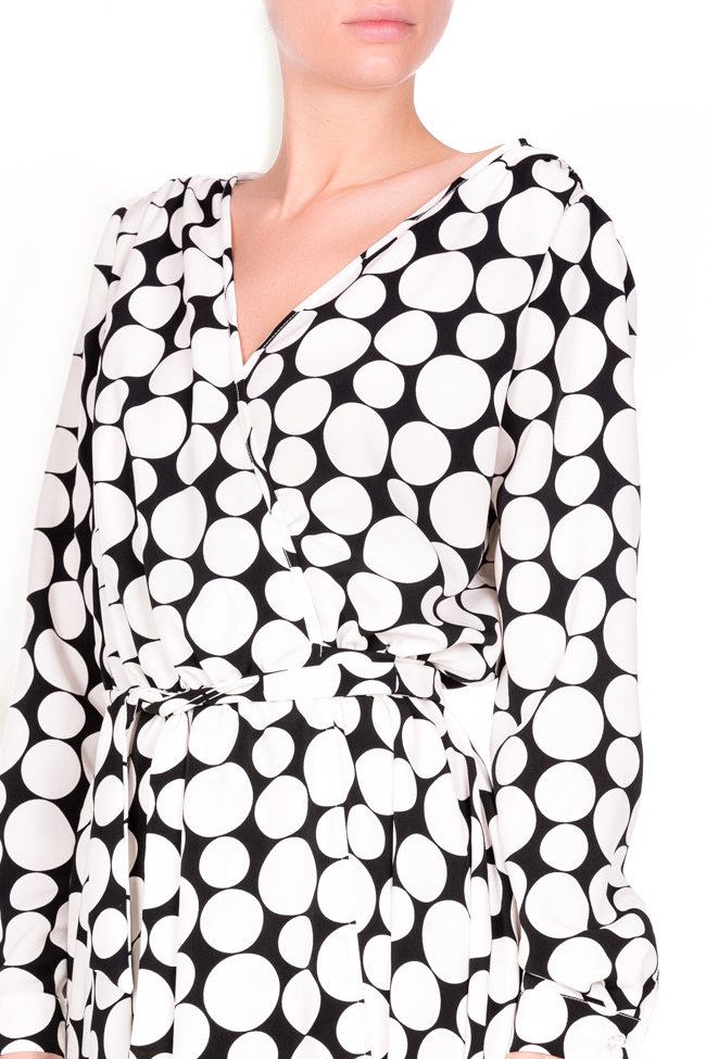 Polka-dot crepe de chine wrap dress Lure image 3
