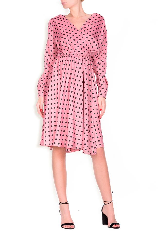 Polka-dot crepe de chine wrap dress Lure image 0