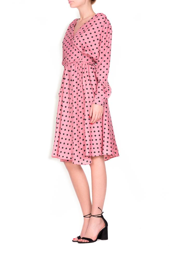 Polka-dot crepe de chine wrap dress Lure image 1