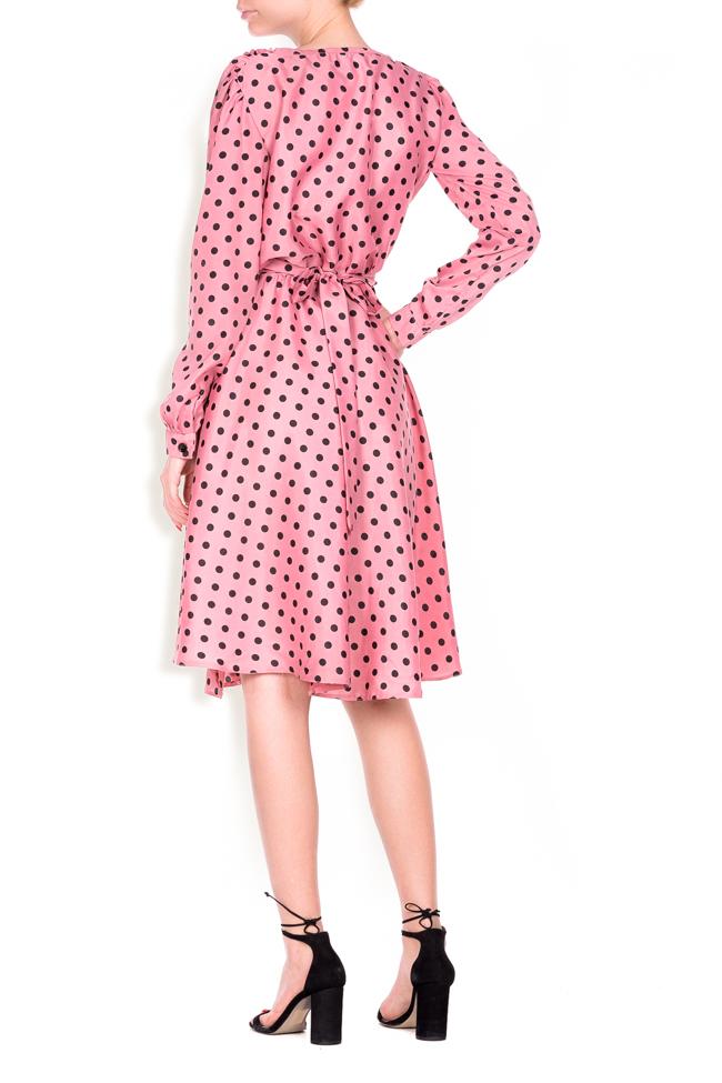 Polka-dot crepe de chine wrap dress Lure image 2