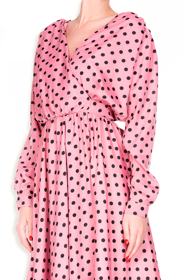Polka-dot crepe de chine wrap dress Lure image 3