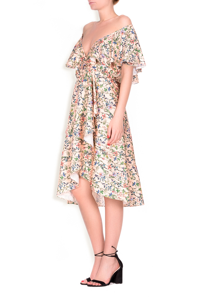Ruffled floral-print wrap dress Lure image 1