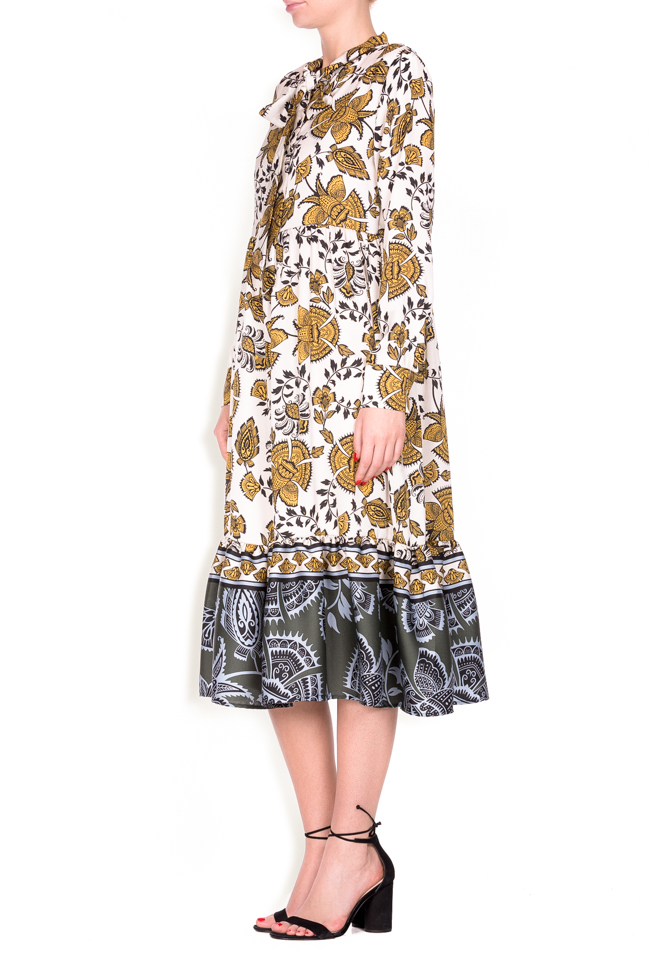 Pussy-bow printed jersey midi dress Lure image 1