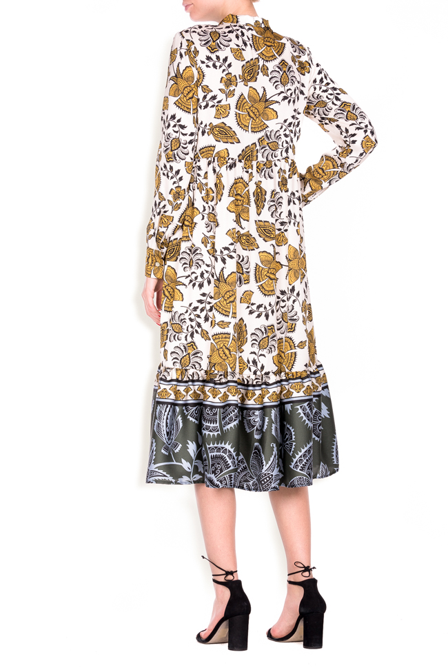 Pussy-bow printed jersey midi dress Lure image 2
