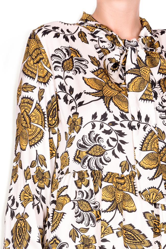Pussy-bow printed jersey midi dress Lure image 3