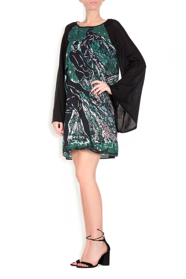Green Tide printed silk wool mini dress Argo by Andreea Buga image 1