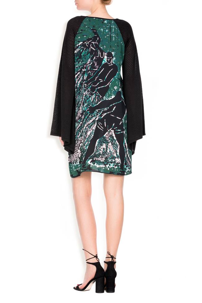 Green Tide printed silk wool mini dress Argo by Andreea Buga image 2