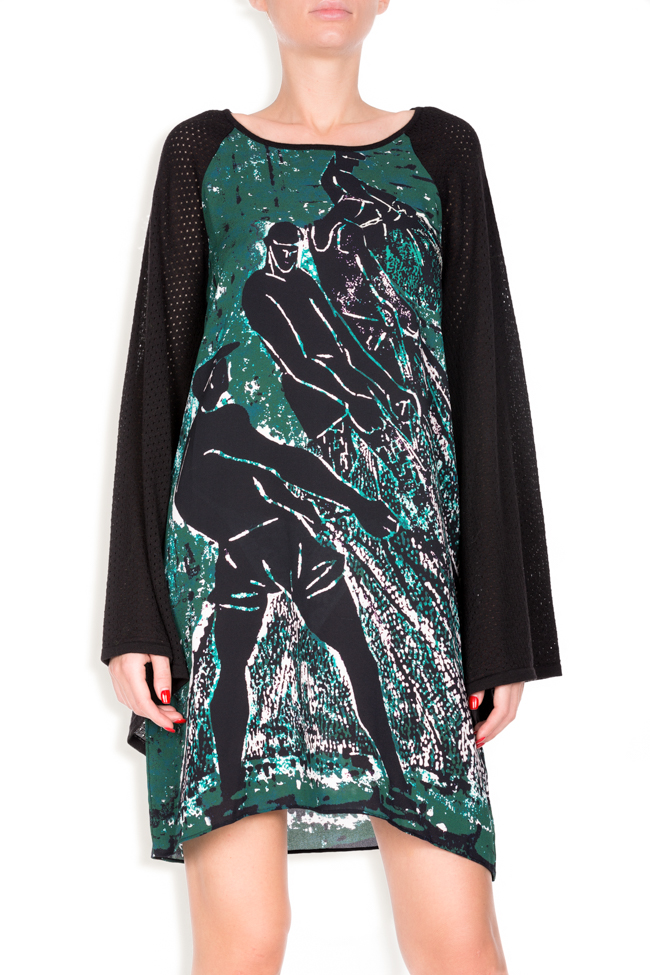 Green Tide printed silk wool mini dress Argo by Andreea Buga image 3