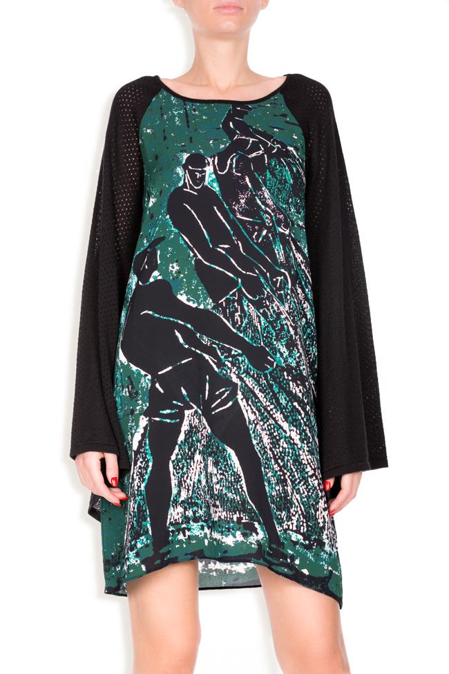 Robe en soie imprimée et laine, Green Tide Argo by Andreea Buga image 3