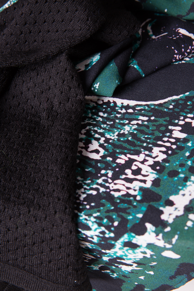 Rochie din matase imprimata digital si lana Green Tide Argo by Andreea Buga imagine 4