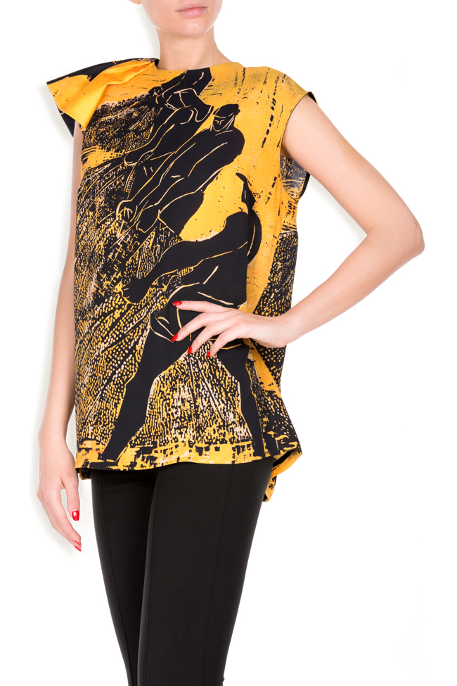 Sea Side Ocher printed silk top Argo by Andreea Buga image 1