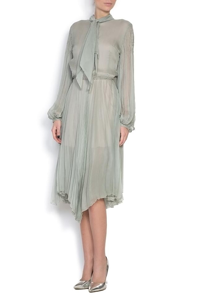 Pussy-bow silk-mousseline dress Dorin Negrau image 0