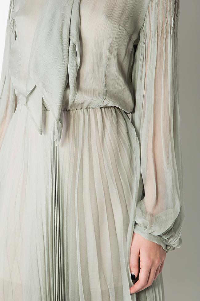 Pussy-bow silk-mousseline dress Dorin Negrau image 3