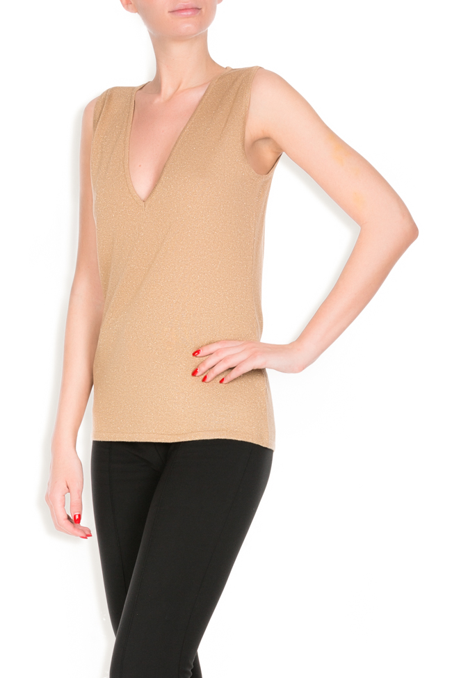 Gold metallic-knit top Argo by Andreea Buga image 1