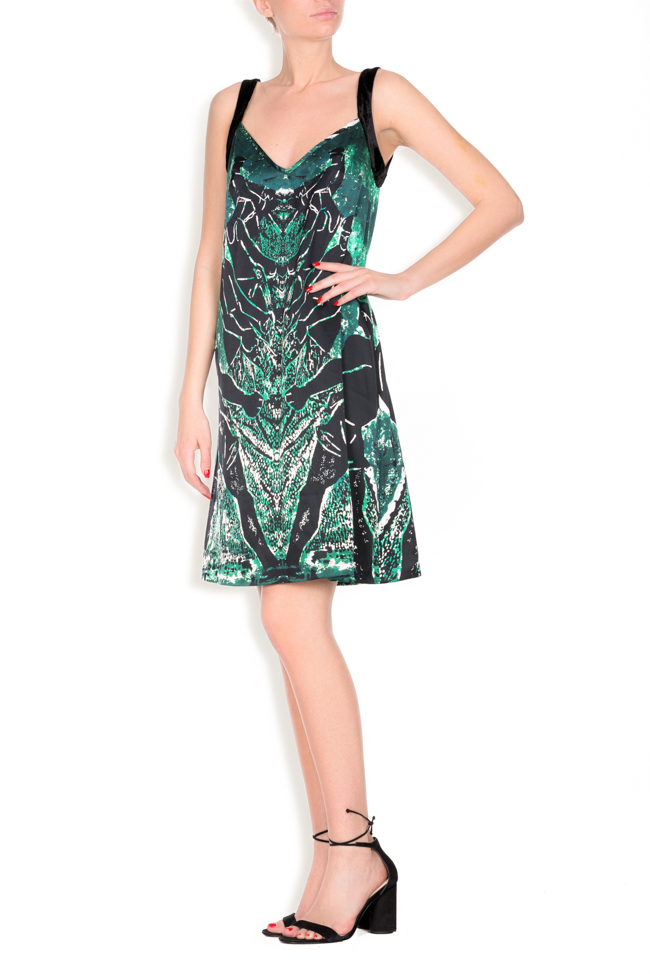 Tie Catched printed silk mini dress Argo by Andreea Buga image 1