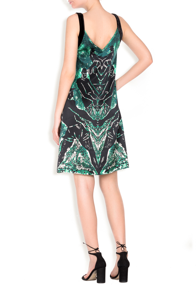 Tie Catched printed silk mini dress Argo by Andreea Buga image 2