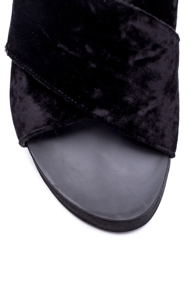 Velvet and leather slides Mihaela Gheorghe image 3