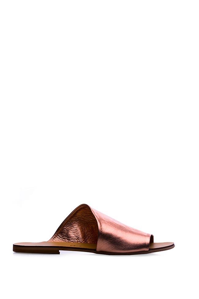 Papuci din piele metalizata Mihaela Gheorghe imagine 0
