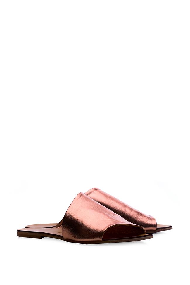 Papuci din piele metalizata Mihaela Gheorghe imagine 1